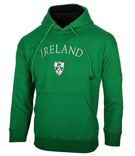 (Kids Ireland Shamrock Crest Hoody Hooded Sweatshirt (Green, 7-8 Years))