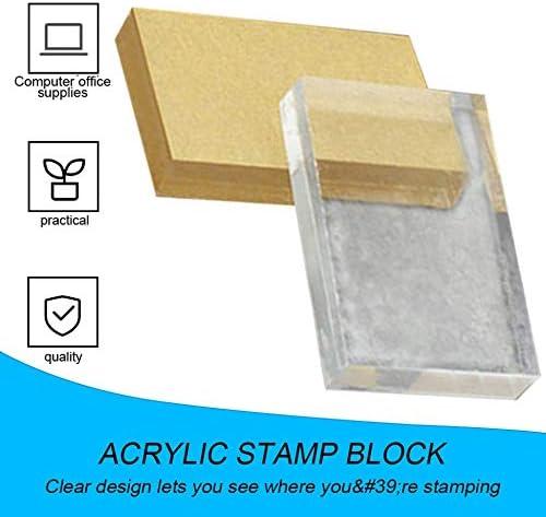 Transparent Rectangulaire 6x4x1 cm L/éger Transparent Acrylique Tampon Bloc Rectangulaire Forme DIY Scrapbooking Couleur Processus Tampon Tampon Outils