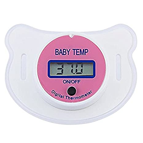baby thermometer mouth, Baby Pacifier Thermometer Portable LCD Digital With Protective Storage Cover Safety Health Nipple (Pink) Rebecca online