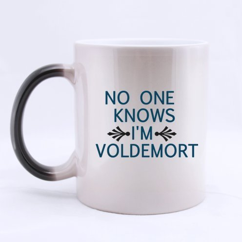 Halloween's Day Funny Guy Mugs Funny Sayings NO ONE Knows I'm Voldemort Tea Or Coffee Cup 100% Ceramic 11-Ounce Morphing Mug -