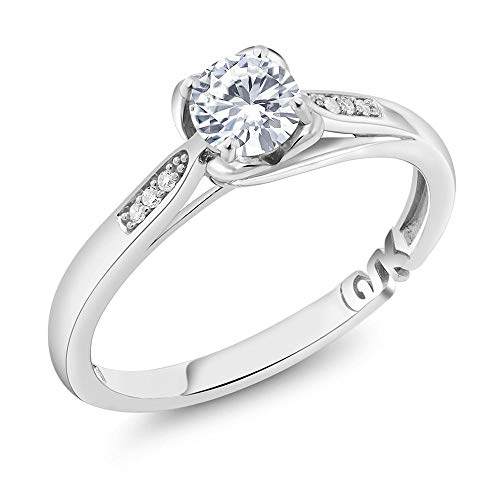 Gem Stone King 10K White Gold Solitaire w/Accent Stones Ring Timeless Brilliant Round (IJK) 0.50ct (DEW) Created Moissanite and Diamond (Size - Diamond Ring Ct 0.5