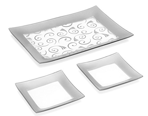 GAC Set of 3 Tempered Glass 1 Rectangular Tray and 2 6 Inch Glass Dessert Plates Break and Chip Resistant - Oven/Microwave Safe - Dishwasher Safe Decorative Plate and Glass Serving (Rectangle Serving Dish)