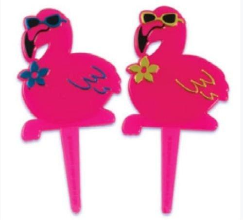 CakeDrake-PINK-FLAMINGO-Tropical-Luau-Hawaiian-12-Cupcake-Toppers-Decoration-PICS-Picks