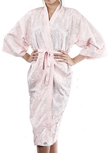 Light Pink Kimono Bathrobe Robe Dressing Gown Thai Coat Night / Available in 18 different colours by Bestellmich