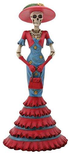 8.5 Inch Cold Cast Resin Day of the Dead Skeleton Lady Isabela Figure