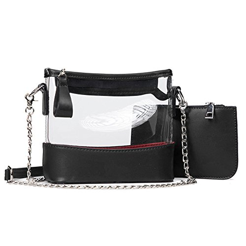 Jyouhin Clear Purse Women's Cross-body Bag PVC Transparent Messenger Bag for Women, NFL Stadium Approved (Black)