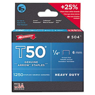 Arrow Fastener 504 Genuine T50 1/4-Inch Staples, 1,250-Pack (Staples Box Arrow T50)