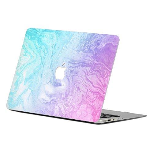 Unik Case - Marble Pattern Rubberized Hard Case for Macbook Air 13 Model: A1369 / A1466 - Hot Blue/Purple