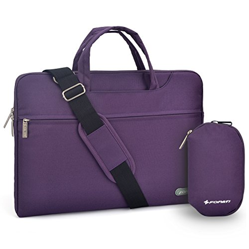 (YOUPECK Water Repellent 15-15.6 Inch Laptop Shoulder Bag Compatible MacBook Pro, Ultrabook Chromebook 15, Polyester Protective Messenger Briefcase Men Women Carrying Handbag Sleeve Case, Purple )