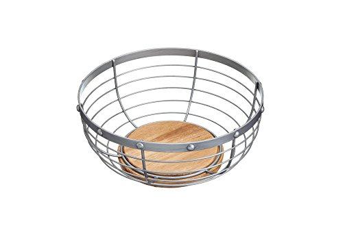 Kitchencraft Industrial cocina Metal estilo Vintage/frutero de madera, 28x 12cm (11x 5), acero, Gris, 28x 28x 12cm