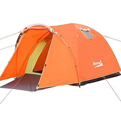 MAKINO Family Tents for Camping 4 Season Water Resistant 2-3 Person Tents Lightweight Waterproof with Carry Bag Orange Review