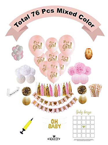 Premium Baby Shower Decoration Pink and Gold | Full Set Including 26 Bonus Balloons| It's A Girl-Banner, Pom Poms, Lanterns, Etc. For Birthday Parties ,Newborns|0 - 18 Months| Gift Wrapping Available by EMACITY SHOP