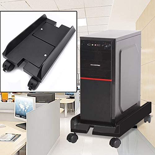 WTYDコンピューターアクセサリー ホイール付きコンピューターメインフレームホスト調節可能ブラケット、サイズ:S コンピューターに使用 (Color : Black)