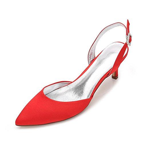 L@YC Damen Hochzeit & Sommer Herbst Slingback Seide Hochzeit Büro & Karriere Party & Abendkleid Stöckelabsatz Red