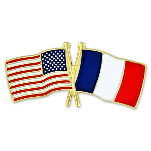 PinMart USA and France Crossed Friendship Flag Enamel Lapel Pin