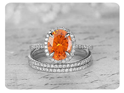 8x6mm Oval Cut Created Orange Sapphire & White Diamond .925 Sterling Silver Wedding Engagement Trio Ring Band Set for Women's