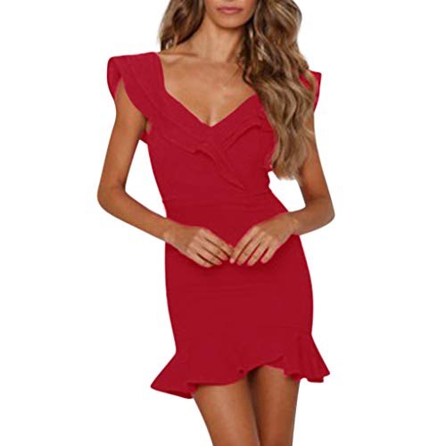 (Dress Women Summer, Qingell Sexy V-Neck Sleeveless Double Lotus Leaf Evening Club Party Beach Red )