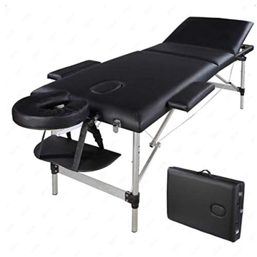 Simply-Me Massage Table Massage Bed Aluminum Alloy 3 Folding Portable Beauty Massage Table Height Adjustable Spa Bed Facial Salon Tattoo Bed,Black