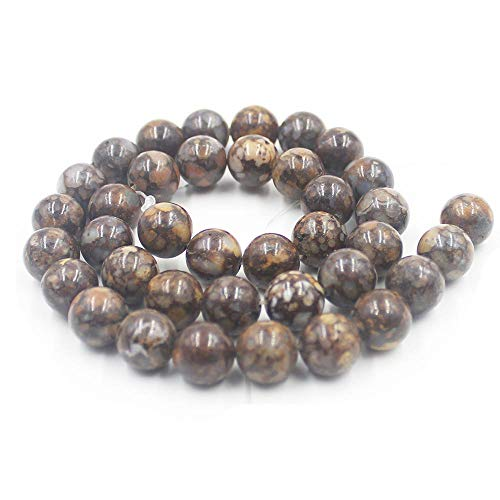 Natural 6 8 10mm Round Fire Boulder Opal Gemstone Beads Strand 15