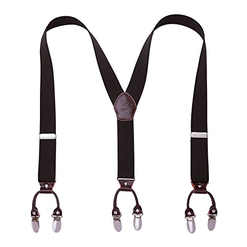 Men Suspneders Y Back KANGDAI 6 Clips Wide Solid Color Suspenders for Tuxedo & Wedding Fathers Day