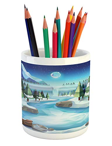 Ambesonne Northwoods Pencil Pen Holder, Fantastic Winterland Illustration with Low Poly Style River Mountains and Forest, Printed Ceramic Pencil Pen Holder for Desk Office Accessory, Multicolor -