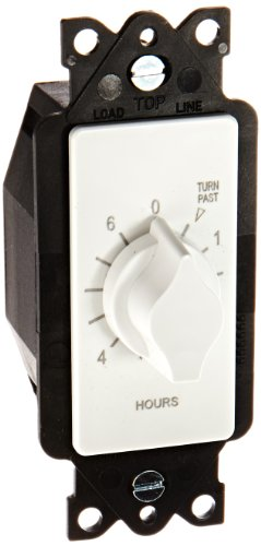 Tork A Series Springwound Auto Off In-Wall Time Switch, 6 Hours Timer Length, White - A506HW