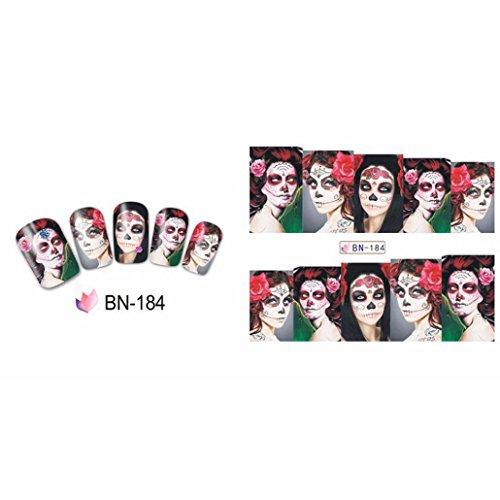 Quartly Halloween Women Nail Art Sticker Watermark Tattoos Nail Art Tips Nail Decoration (A)