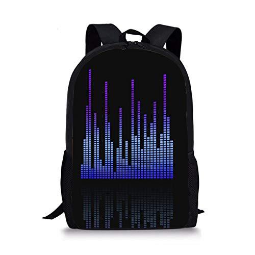 DBGFbackbagYU Equalizer Eq Sound Level Digital Cute Print School Backpack For Boys Girls School Book Bags