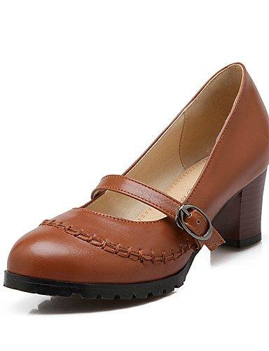 ZQ Zapatos de mujer-Tac¨®n Robusto-Tacones / Punta Redonda-Tacones-Oficina y Trabajo / Casual-PU-Negro / Marr¨®n / Beige , brown-us10.5 / eu42 / uk8.5 / cn43 , brown-us10.5 / eu42 / uk8.5 / cn43 beige-us5 / eu35 / uk3 / cn34