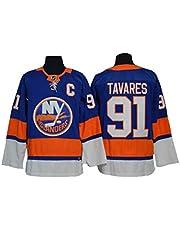 Gmjay John Tavares # 91 Jersey de Hockey New York Islanders Hockey Azul Cosido Letras Números NHL Sudaderas Largas