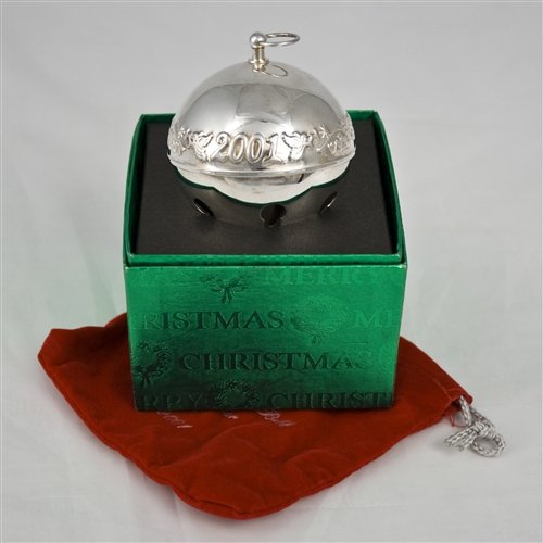 Wallace Sleigh Bell Silverplate - Wallace 2001 Sleigh Bell Silverplate Ornament by