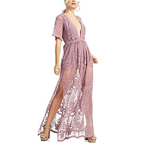 Lilac Homecoming Damen¡¯s Bigforest V-neck Split Kleid Cocktail Gown Long Lace Party Prom Dress Sexy With