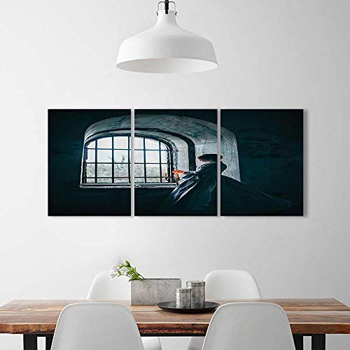 3 Panel Wall Art Set Frameless man with Victorian Dress in frt of Middle Age Style Window Gothic Dramatical for the kitchen, dining room, living room, bar and so on W24