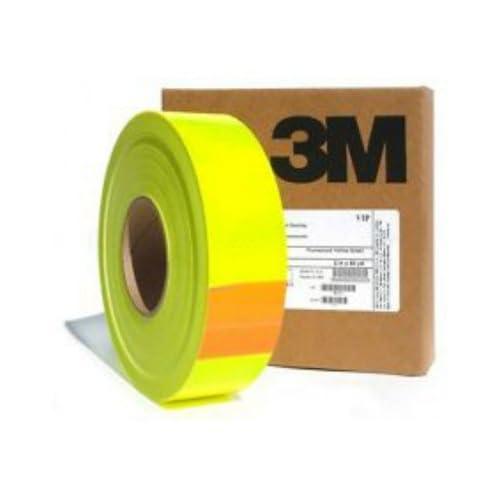 3M Ruban/ Film autocollant fluorescent haute visibilité, jaune, 3m de longueur x 25/ 50/ 200mm d'épaisseur 25mm, Lunghezza - 1 metro