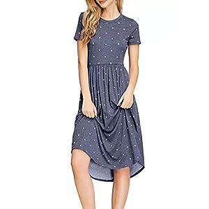 YOMISOY Womens Polka Dot Summer Dresses Casual Short Sleeve Empire Waist Tunic Dress with Pocket