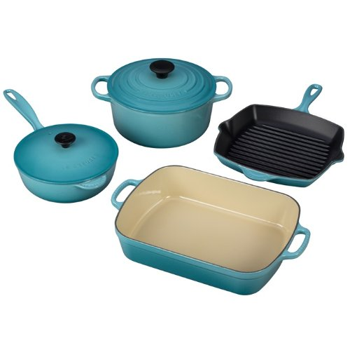 6 Piece Enameled Cookware Set (Le Creuset Enameled Cast-Iron 6-Piece Cookware Set, Caribbean)