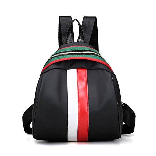 Espeedy Mujeres mochila Oxford empalme impermeable color franja bandolera casual señoras niñas Escuela viajes grandes capacidades bolsas blanco y rojo