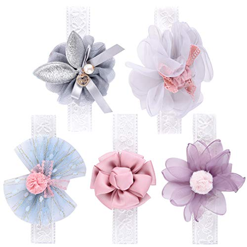 DEEKA Chiffon Flowers Lace Headbands Bows 5PCS with Soft Nylon Elastic Headband Hair Bows Hair Band for Baby Girls]()