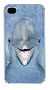 iPhone 4s Case,Kids Dolphin Face Polycarbonate Hard Case Back Cover for iPhone 4/4S White