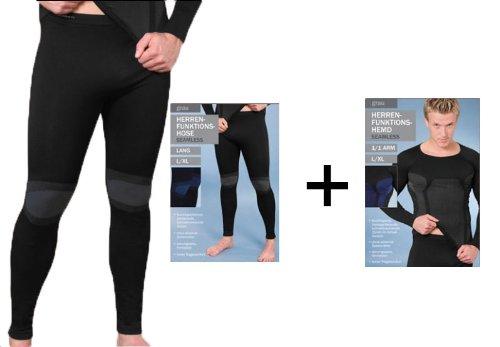 1 Set Herren Ski Sport Thermo Funktions Unterwäsche Seamless Hemd + Unterhose