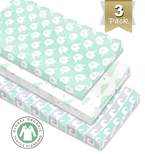 3 Pack Organic Cotton Changing Pad Covers or Cradle Sheet, Mint/Gray Unisex for Boy or Girl with Safety Belt - Organic Pad Cradle Mattress