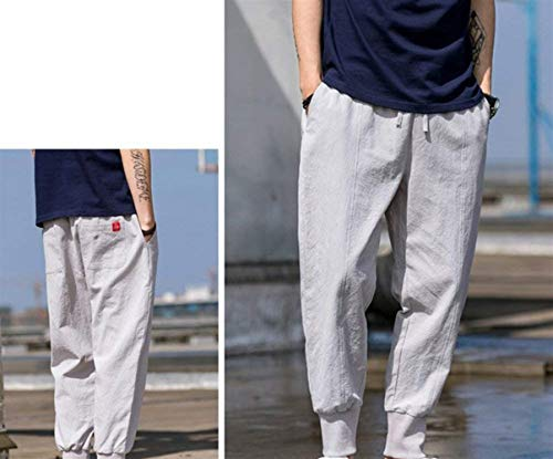 Confortable Couleur Unie Amayay En Poches Light Grey Simple Pour Lin Avec Hommes Long Pantalon Style Cargo Casual AH0AqTw