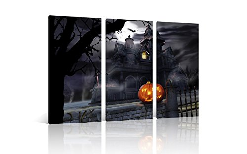 NAN Wind 3 Pcs Canvas Oil Paintings For Halloween Decorations Canvas Wall Art Haunted House Halloween Pumpkins Stretched and Framed Ready to Hang for Home Decor Living Room (Haunted House Room Ideas)