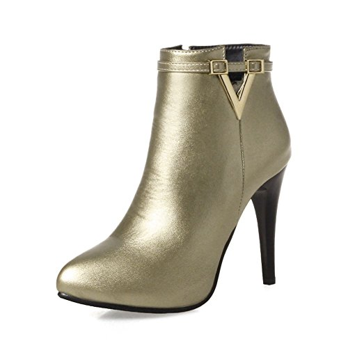 KingRover Women's V Cut Sexy Pointed Toe Strap Side Zipper Ankle Booties Gold 0MAdr83w