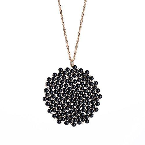 - Niumike Black Disk Circle Pendant Necklaces Women,100% Handmade Statement Necklace Set, Box