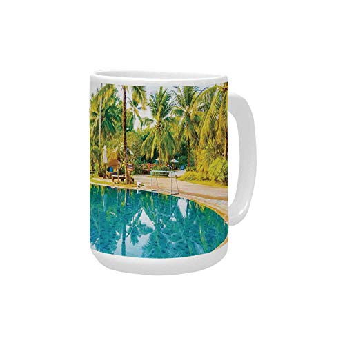 House Decor Ceramic Mug,Umbrella and Chair Around the Round Outdoor Pool Tourist Space Famous Spots Concept for Home,15OZ