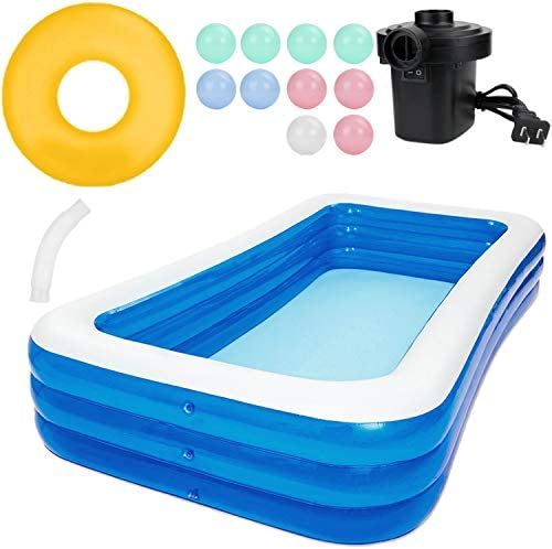 Inflatable Swimming Pools, Family Swimming Pool, Swim Center for Kiddie, Kids, Adults, Easy Set Swimming Pool for Backyard, Summer Water Party, Outdoor, 102 x 62 x 26 in With Marine Ball Air Pump