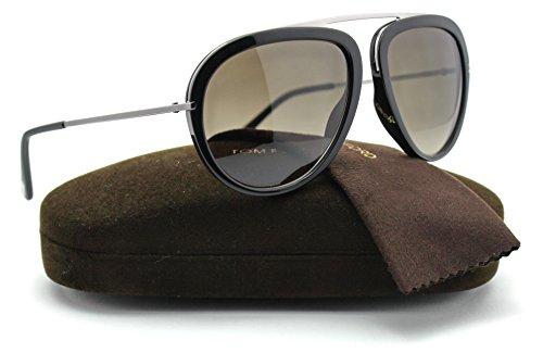 Tom Ford FT0452 STACY Metal Aviator Unisex Sunglasses (Shiny Black Frame, Roviex Gradient Lens - Sunglass Tomford