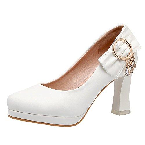 Charm Foot Womens Sweet Bows Rhinestone Chunky High Heel Pumps Shoes White ueFTZ8bLb