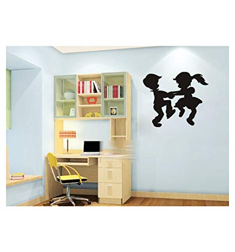 Dailinming PVC Wall Stickers Children dancing silhouettes glass doors dormitory bedroom home decor tastelessWallpaper58.4cm x66cm-Black